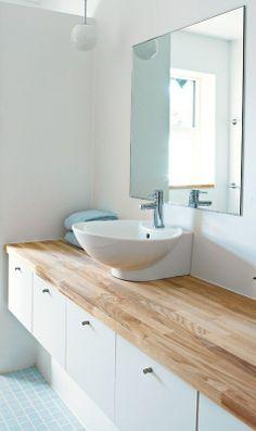 Lyst og blåt og gråt Double Vanity, Deco, Top, House, Bathrooms, Full Bath, Bathing, Home, Bathroom