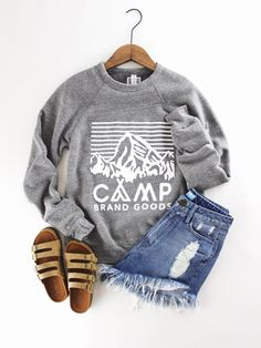 Camp Brand. Comfy soft crewnecks for men and women. Graphics. Mountain. Cozy camping outfits. Heather grey. therollinj.com