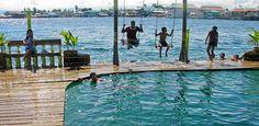 Water swings at the Aqua Lounge, Isla Carenero, Bocas del Toro, Panama
