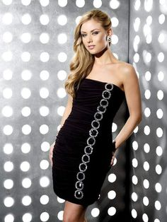 Slim-line Black Strapless Open Back Mini Prom Dress With Sequins