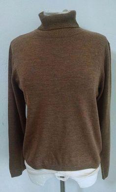 Pendleton Turtleneck Sweater Womens Medium Light Brown Merino Wool #Pendleton #TurtleneckMock