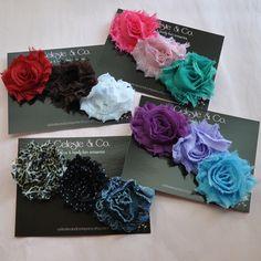 Shabby Chic Flower Clips - 6 Pack - Baby Girl - Infant - Toddler - Girls Hair Clips - Hair Bows - Flower Hair Clips - YOU PICK 6. $19.95, via Etsy.