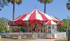 The J&S Carousel in Davenport Park in St. Augustine, Florida dates back all the way to 1927! This historic ride offers children with the chance to ride horses or a camel around and around while listening to the old time music. Visit this attraction and be sure to have a great time.