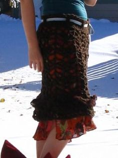 Crochet over skirt! Looks pretty and would be quick and easy!