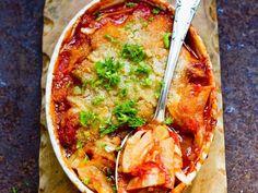 Fenchel-Tomaten-Gratin mit Käse überbacken
