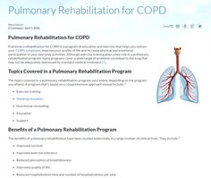 Pulmonary rehabilitation for COPD is a program of education and exercise that helps you reduce your COPD symptoms. Click to learn more.