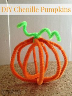 DIY Chenille Pumpkins - A fun fall craft for kids.