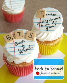 Forget an apple! Pass a sweet and sugary note even teachers will love with this back to school cupcake topper tutorial and start the year off right. Teacher Cupcakes, School Cupcakes, School Cake, School Treats, Teacher Party, Fondant Toppers, Fondant Cupcakes, Fun Cupcakes, Cupcake Cakes