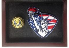 Donald Trump 45th President of the United States Souvenir Ring Display - Gold Plated w/ Blue Stones and American Flag/Statue of Liberty Patch - Shipped from USA