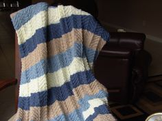 Knitted Afghan - Ripple Stitch in Blues, Beige and Off White by KittyKittyKnits on Etsy https://www.etsy.com/listing/93368179/knitted-afghan-ripple-stitch-in-blues