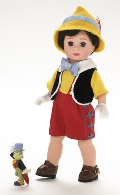 """The Madame Alexander """"Pinocchio"""" Disney Doll is the best translation I've seen to 3D of Pinocchio's ensemble. And he has a cute chubby round face. :)"""