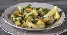Greek artichoke stew by Greek chef Akis Petretzikis. An aromatic, traditional Greek recipe for a stew made with artichokes, potatoes, carrots, dill and lemon. Greek Dishes, Main Dishes, My Favorite Food, Favorite Recipes, Greek Potatoes, Vegetarian Recipes, Healthy Recipes, Greek Cooking, Mediterranean Recipes