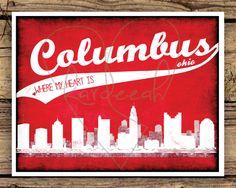 Columbus Ohio Skyline // Where My Heart Is // 8 x 10 Print. $15.00, via Etsy.