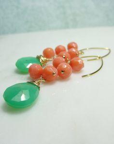 Coral, gold and seafoam green