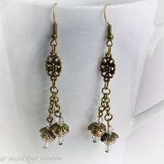 Dangle Earrings, Antique Bronze with Crystal, Champagne Gold, FREE UK p&p £6.50