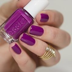 Nail Colors, Nail Polish Trends, Nail Care & At-Home Manicure Supplies by Essie. Shop nail polishes, stickers, and magnetic polishes to create your own nail art look. Gorgeous Nails, Love Nails, How To Do Nails, Purple Nail Polish, Purple Nails, Bright Nail Polish, Black Polish, Nails Opi, My Nails