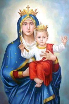 Blessed Virgin Mary and Baby Jesus Jesus Mother, Blessed Mother Mary, Blessed Virgin Mary, Baby Jesus, Catholic Art, Catholic Saints, Religious Art, Jesus E Maria, Images Of Mary