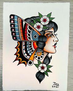 Traditional Tattoo Girl Head, Traditional Tattoo Painting, Traditional Nautical Tattoo, Traditional Tattoo Old School, Traditional Tattoo Design, Traditional Tattoo Wallpaper, Traditional Tattoos, Neo Tattoo, Tatoo Art