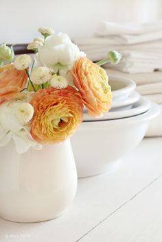 Ranunculus and pincushion flowers. Simple, lovely. A great combo for coffee and love in the morning...