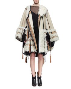 Stitched+Shearling+Fur+Poncho+&+Sheer+Silk+Bell-Sleeve+Ruffle+Dress+by+Chloe+at+Bergdorf+Goodman.