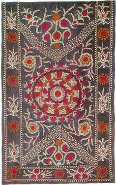 Hand woven silk & silk embroidered side niche covering, Pskent, Tashkent, Uzbekistan. Late 19th-early 20th c.