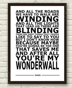 Oasis  Wonderwall White Lyric Art Typography by TheRealPopArt