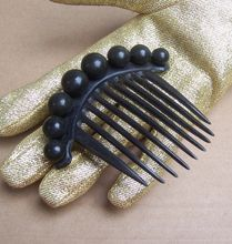 Victorian Dyed Horn Mourning Hair Comb