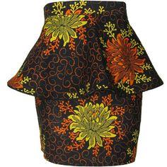 FAIR+true Fair Trade Floral Print Peplum Skirt ($54) ❤ liked on Polyvore featuring skirts, bottoms, floral print skirt, floral printed skirt, floral skirt, flower print skirt and brown skirt
