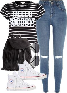 Untitled #4518 by angela379 featuring Victoria BeckhamRiver Island crop top / River Island distressed jeans / Converse white shoes / H M black backpack / Victoria Beckham sunglasses