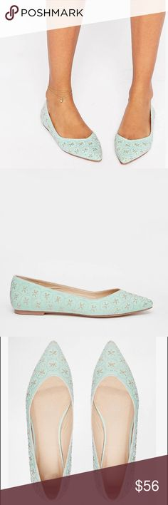 🆕 ASOS Leyton Embellished Pointed Ballet Flat SZ9 Textile upper  Slip-on style  All-over embellishment Point toe  Flat sole Wipe with a soft cloth  100% Textile Upper ASOS Shoes Flats & Loafers
