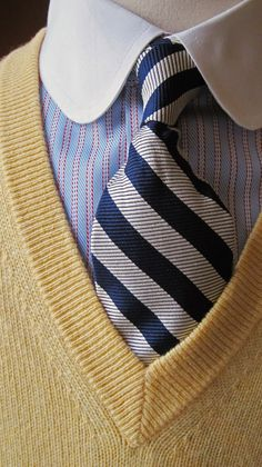 c/o The Trad: Brooks Brothers club collar and cashmere V neck