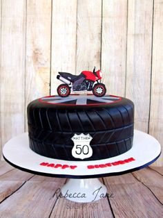 Motorbike tyre cake by Rebecca Jane Sugar Art