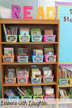 This classroom library keeps the books organized and easy to find. It is easy to find a specific book when the books are separated by either genre or topic.