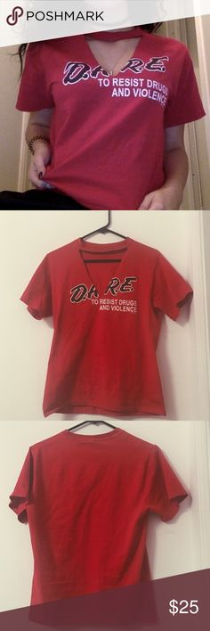 """D. A. R. E. Red Choker Cut T-Shirt Handmade   Fits size: XS-M  ••• Vintage Style """"Dare to resist drugs and violence"""" tee. Distressed with a choker cut to give a fierce look! No brand. •••  ✨ Check out my closet for more cute items!  I ALWAYS DISCOUNT BUNDLES!  ✨  Brands in my closet include: H&M, Forever 21, Victoria's secret pink, Nike, Urban Outfitters, Pacsun, LF, Brandy Melville, topshop, Free People, hollister, american eagle, etc! :) LF Tops Tees - Short Sleeve"""