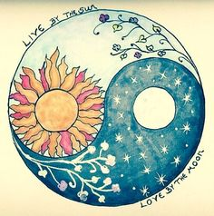 drawing cute life Cool moon night draw sun nature yin yang Balance ying yang equilibrium equilibrio