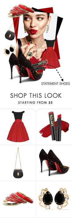 """""""Double Take: Statement Shoes"""" by kari-c ❤ liked on Polyvore featuring KAROLINA, Chloé, Christian Louboutin, Bounkit and statementshoes"""