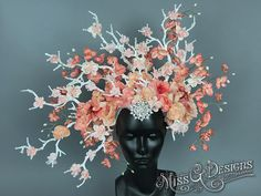 #MissGDesigns #flowerheadband #crown #headpiece #headdress #peach #branches #cherry blossoms