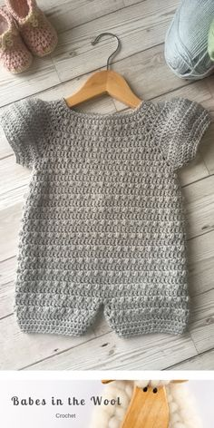 # crochet baby patterns girl winter Crochet Pattern Baby Romper - Newborn to 24 months Knitting For Kids, Crochet For Kids, Baby Knitting, Easy Crochet Patterns, Baby Patterns, Crochet Stitches, Moda Crochet, Knit Crochet, Crochet Baby Cardigan