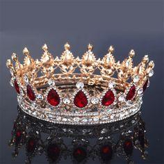 Hot European design royal crown queen crown red  ornaments crown high-end fashion bridal headdress crown beautiful womanWHG0125