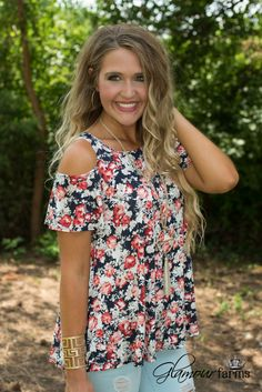Ellis Floral Top is a floral beauty! This cold shoulder top is beautiful with a lively floral print throughout. Round neckline, short sleeve with shoulder cut-outs and easy fit, a-line hemline. Shoulder Cut, Cold Shoulder, Floral Tops, Floral Prints, Glamour Farms, Stylists, Style Inspiration, Boutique, Cut Outs