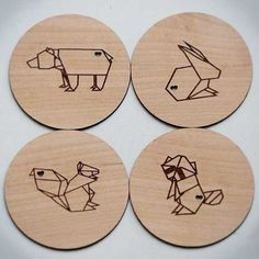 Items similar to Origami Woodland Animals - Laser Cut and Etched on Wood Coasters - Set of 4 on Etsy