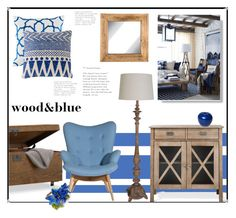 """wood&blue"" by monika-85 ❤ liked on Polyvore featuring interior, interiors, interior design, home, home decor, interior decorating, Threshold, Bitossi and Deborah Rhodes"