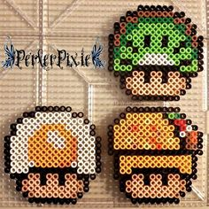 Food Mushrooms (kiwi, fried egg, taco) perler beads by PerlerPixie