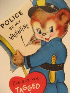 Vtg Valentine Card Bear Baton Policeman Police Be My I've Got U Tagged UNUSED   in Collectibles, Paper, Vintage Greeting Cards, Valentine's Day | eBay