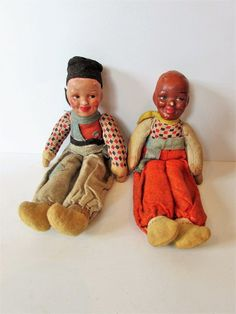 Two Vintage Cloth And Celluloid Dolls In Dutch Costume.