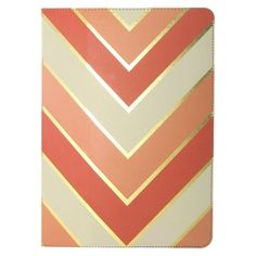 Beautiful pink/coral, cream, and gold #Chevron #iPad #Case . If only I had an iPad!