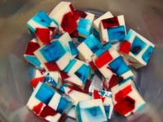 Stained Glass Jell-O for Independence Day. Vary the jello colors to suit other holidays/celebrations.