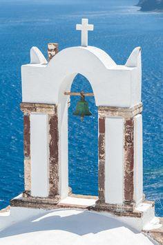 Old bell tower in Santorini, Greece