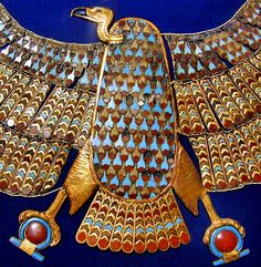 Detail of the gold link and inlay Nekhbet collar from the tomb of King Tutankhamun.  Of all the stunning artifacts from the tomb, this is the one that has stayed with me the longest.  The workmanship is beautiful and the imagery and symbolism are powerful.