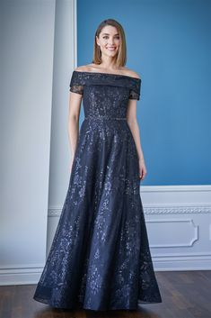 K228056 Anita Sequin Tulle Off the Shoulder Fold Over Cuff Neckline with Hand Beaded Waistband and Horsehair Hem Trim Mother Of The Groom Gowns, Mother Of The Bride Fashion, Mother Of Bride Outfits, Mothers Dresses, Tulle Dress, I Dress, Jade Couture, Jasmine Bridal, Bride Groom Dress
